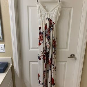 Floral long romper dress